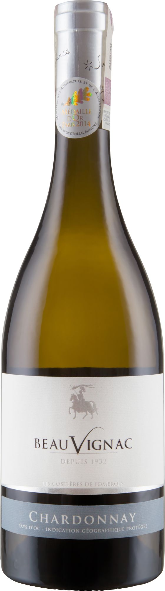 Wino Costieres Pomerols Beauvignac Chardonnay Pays d'Oc IGP