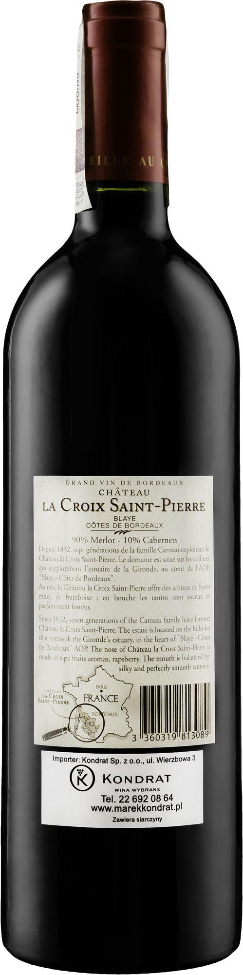 Wino Château La Croix Saint-Pierre Organic Blaye Côtes de Bordeaux AOC