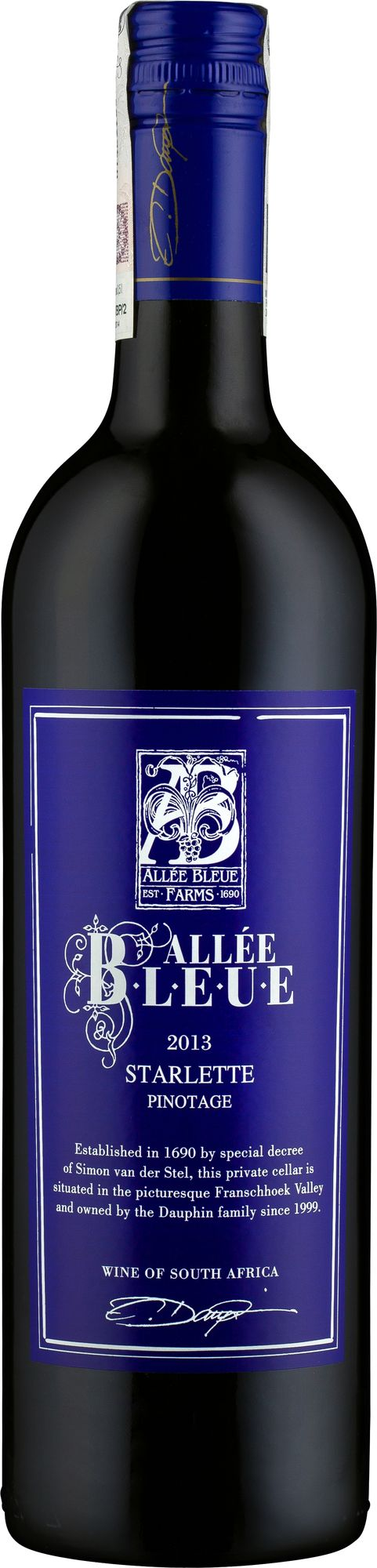 Wino Allée Bleue Starlette Pinotage Franschhoek WO