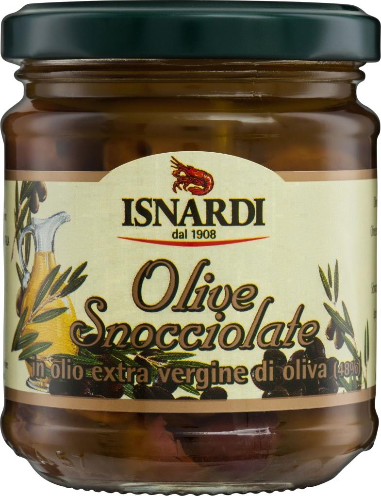 Isnardi czarne oliwki bez pestek w zalewie (185 g)