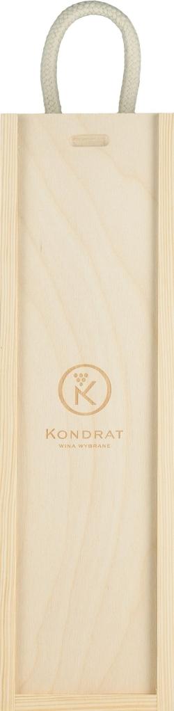 Skrzynka drewniana na jedną butelkę z logo Kondrat Wina Wybrane