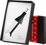 Ozdobne pudełko kartonowe w kolorze czarnym ze świąteczną owijką na butelkę burgundzką