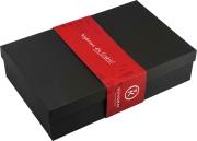 Pudełko ozdobne czarne z czerwoną owijką na butelkę bordoską