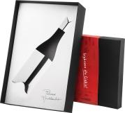 Pudełko ozdobne czarne z czerwoną owijką na butelkę burgundzką
