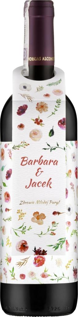 Wino czerwone Alconde Lerin Roble z etykietą weselną i zawieszką