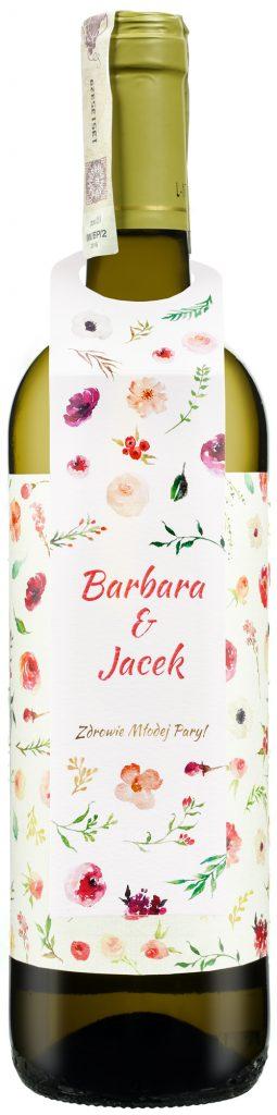 Wino białe Alconde Lerin Chardonnay Viura z etykietą weselną i zawieszką
