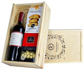 """Skrzynka prezentowa """"Pyszny orzech"""" z winem I Veroni Rosso Toscana"""