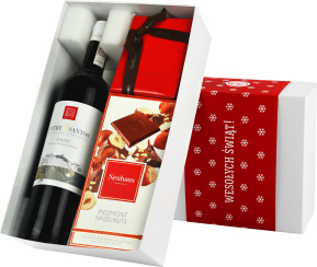 """Pudełko świąteczne """"Cud pralina"""" z winem Campolargo Entre II"""