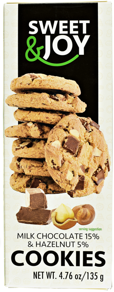 Sweet & Joy ciasteczka Cookies z mleczną czekoladą i orzechami laskowymi