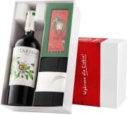 """Pudełko prezentowe """"Czekoladowy wariacja"""" z winem Volver Tarima Organico"""