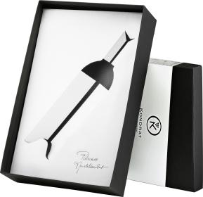 Pudełko ozdobne czarne ze srebrną owijką na butelkę bordoską