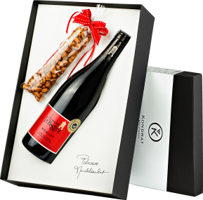 Pudełko prezentowe czarne z winem La Bastide Merlot d'Hauterive VdP