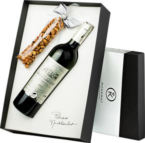 Pudełko prezentowe czarne z winem Château Ballan-Larquette Blanc Bordeaux AC