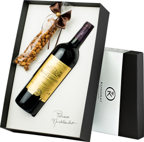 Pudełko prezentowe czarne z winem Château Ballan-Larquette Rouge Bordeaux AC