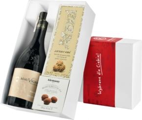 """Pudełko prezentowe """"Kruche szaleństwo"""" z winem Beauvignac Vieilles Vignes Merlot"""