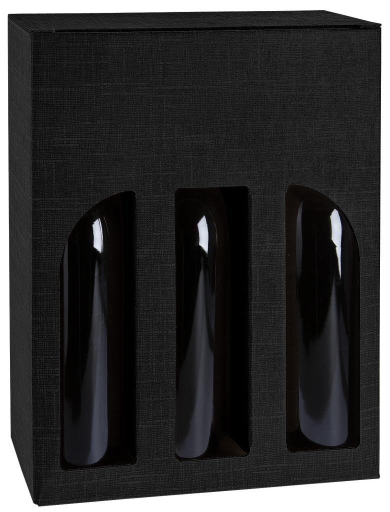 Pudełko czarne z okienkiem na trzy butelki