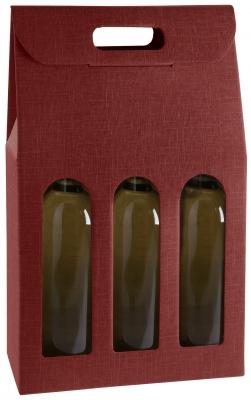 Pudełko bordowe z okienkiem na trzy butelki