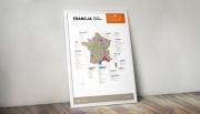 Francja - plakat z mapą regionów winiarskich