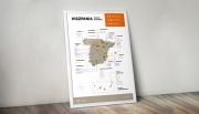 Hiszpania - plakat z mapą regionów winiarskich