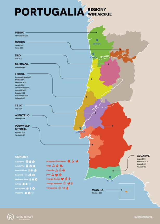 Portugalia - mapa regionów winiarskich