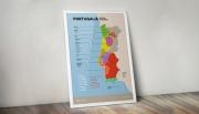 Portugalia - plakat z mapą regionów winiarskich