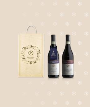 Wina z Piemontu w skrzynce ze świąteczną zawieszką