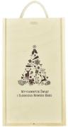 Skrzynka drewniana na dwie butelki ze świąteczną grafiką