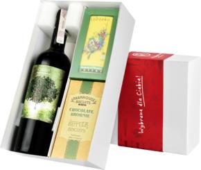 """Pudełko prezentowe """"Czekoladowa przyjemność"""" z winem Cibolo"""