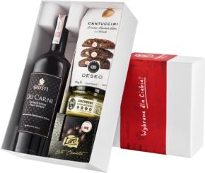 """Pudełko prezentowe """"Orzechowa wariacja"""" z winem Giusti Chardonnay"""
