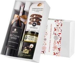 """Pudełko świąteczne """"Orzechowa wariacja"""" z winem Giusti Chardonnay"""