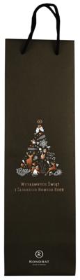 Torebka papierowa czarna ze świąteczną grafiką