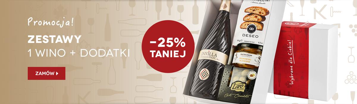Wino i dodatki - pudełka prezentowe z rabatem 25%