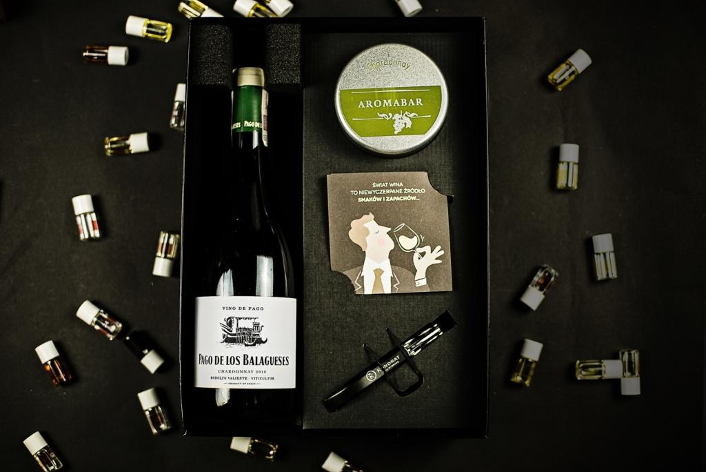 Zestaw prezentowy aromabar i wino chardonnay