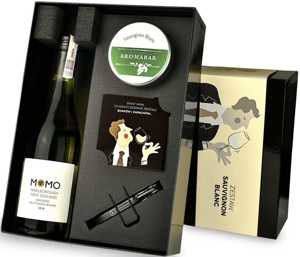Zestaw Aromabar Sauvignon Blanc z winem Momo
