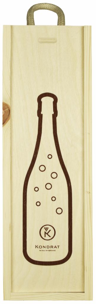 Skrzynka drewniana na jedną butelkę wina musującego